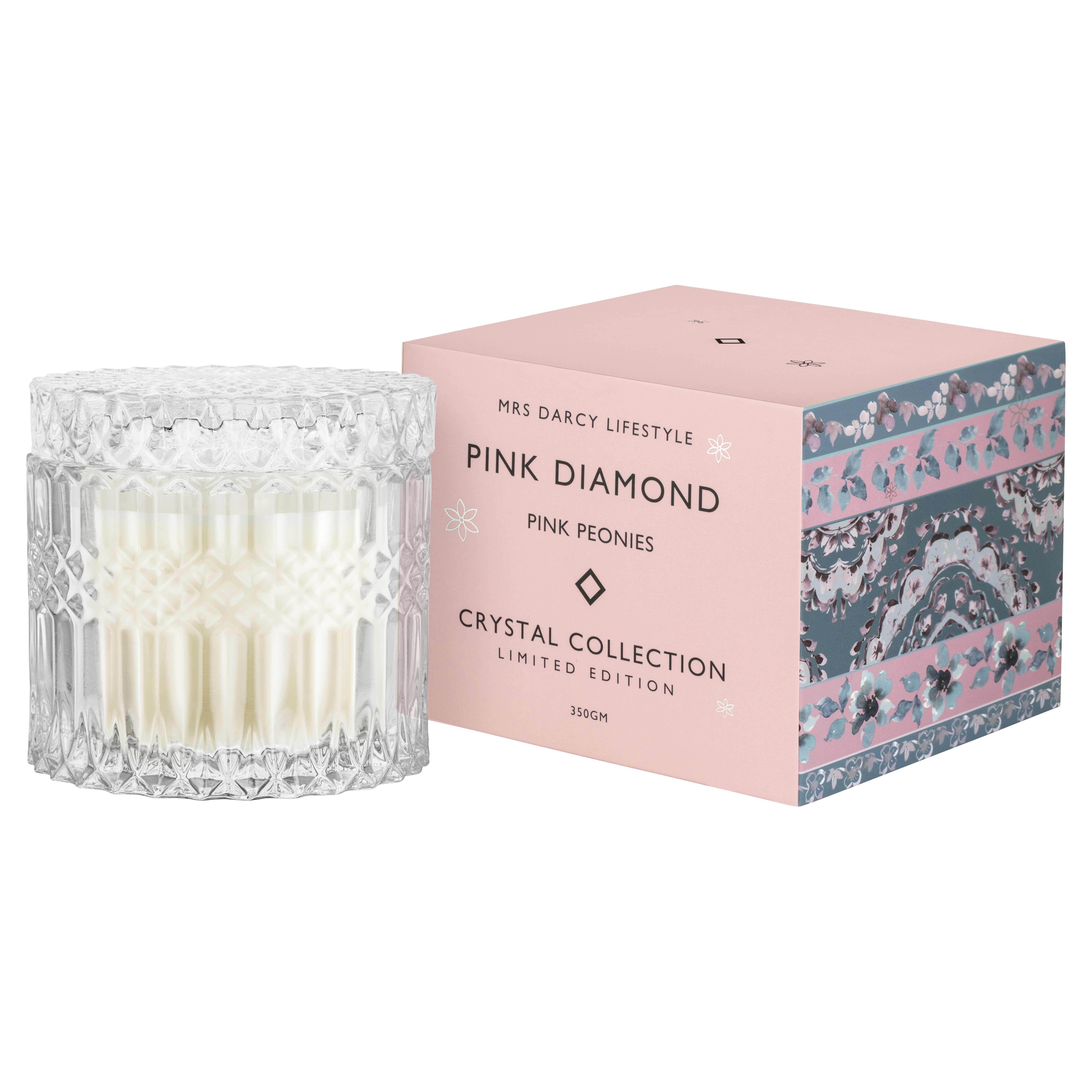Mrs Darcy, Candle Pink Diamond, Pink Peonies, RRP $39.95